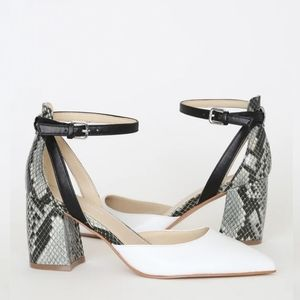 Raie White Multi Snake Leather Ankle Strap Heels